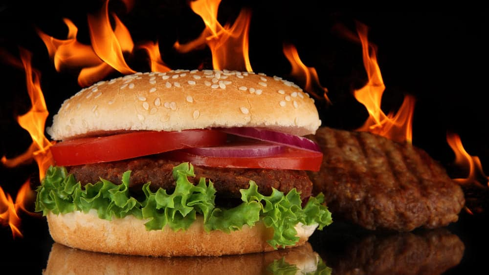 Burger Flames Sizzling Barbecue Dishes