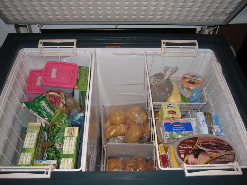 open freezer with food